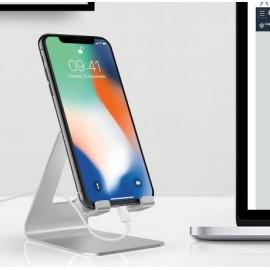 Support alu gris de bureau pour smartphone