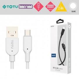 Câble USB vers Micro USB 10W-2,4A blanc 1M TOTU - C90