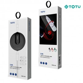 Câble 3 en 1 avec enrouleur 18W-3,5A noir TOTU - C90