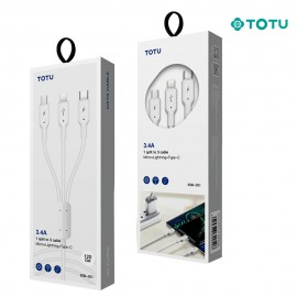 Câble 3 en 1 3.4A blanc TOTU - C90