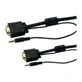Câble VGA PC/Moniteur + Audio - 1m