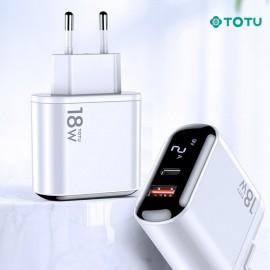 Chargeur secteur 18W 1 USB + 1 TYpe-C TOTU - C90