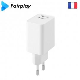 Chargeur secteur 12W 2USB FAIRPLAY - C105