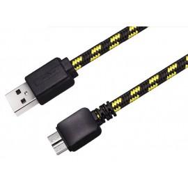 Câble USB v3 type AB Micro - 1m (Nylon tressé)